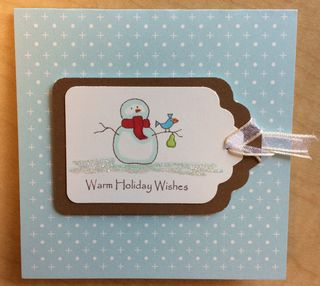 Snowman with Bird Warm Holiday Wishes